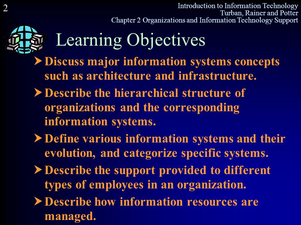 Learning Objectives Discuss major information systems concepts such as architecture and infrastructure.