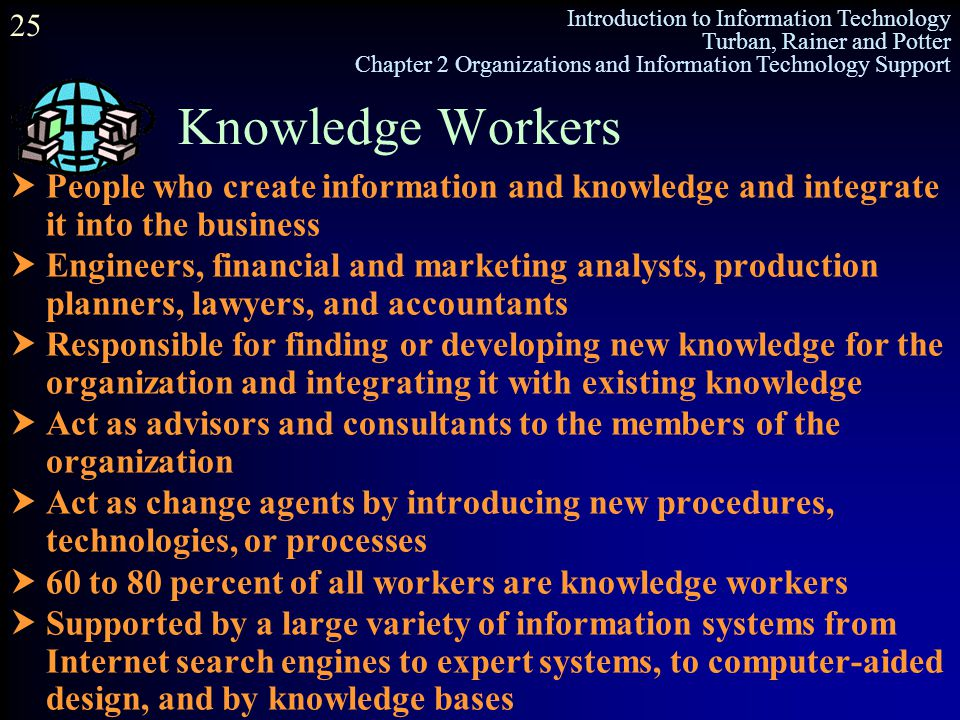 Knowledge Workers People who create information and knowledge and integrate it into the business.