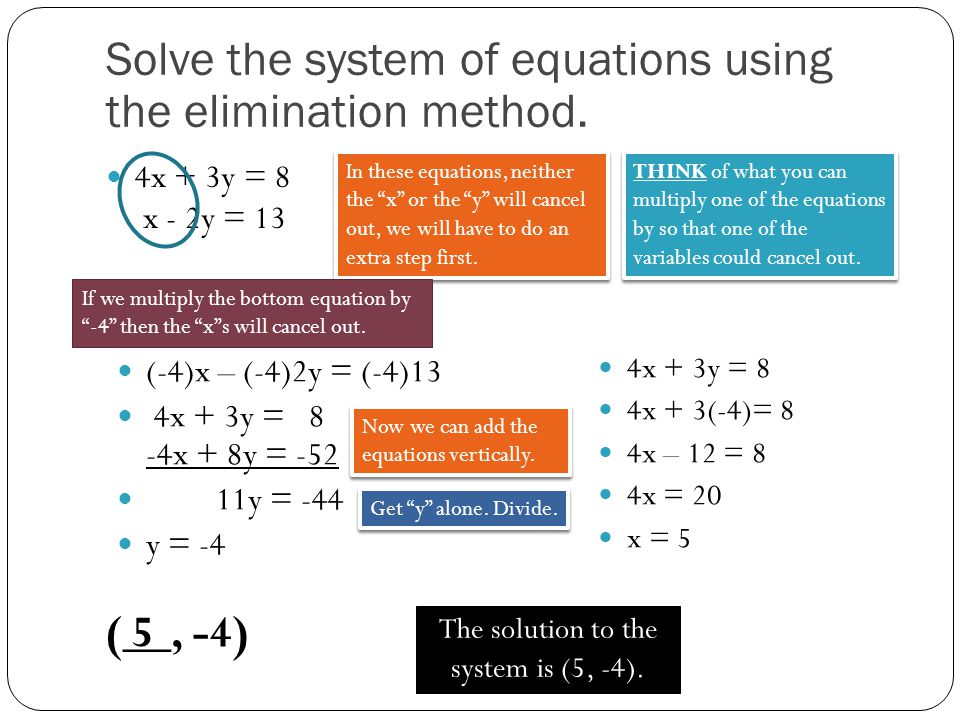 The solution to the system is (5, -4).