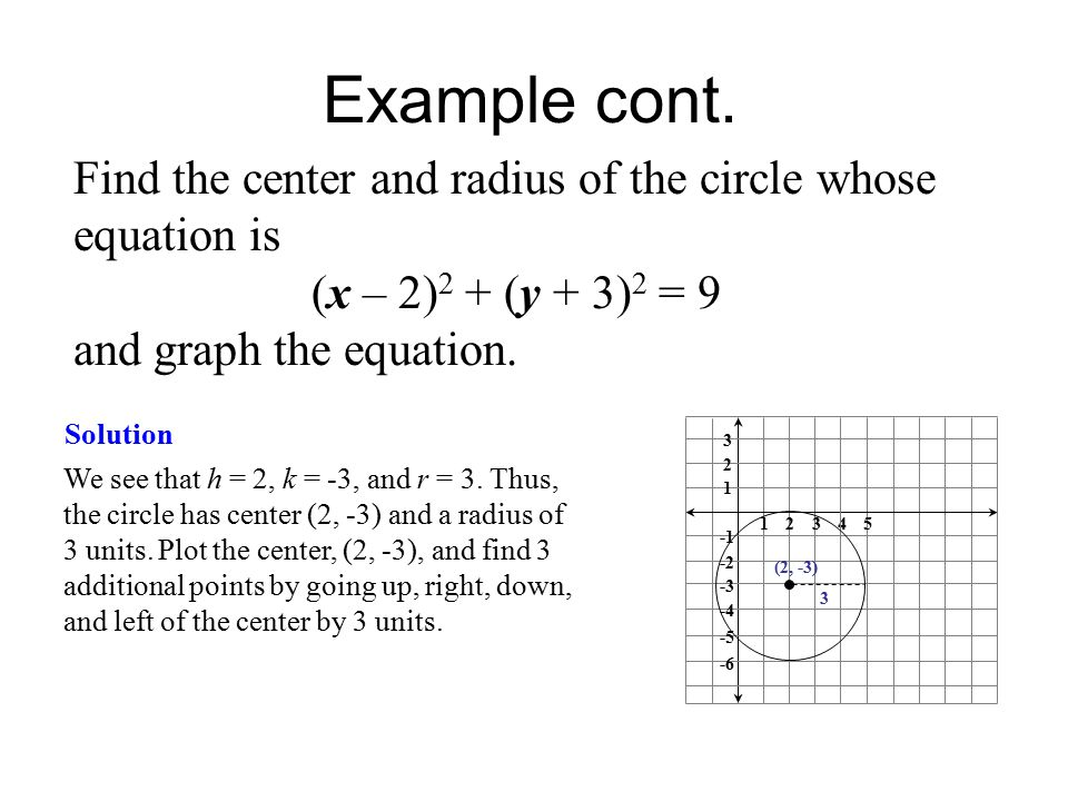 Distance and midpoint formulas circles ppt video online download find the center and radius of the circle whose equation is ccuart Image collections