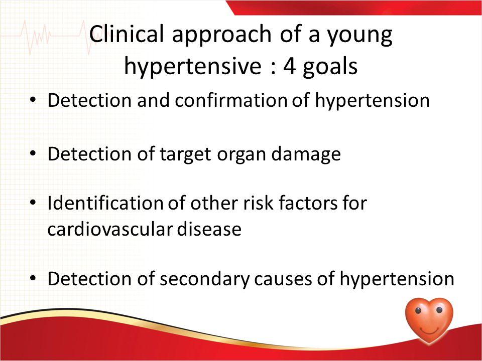 Clinical approach of a young hypertensive : 4 goals