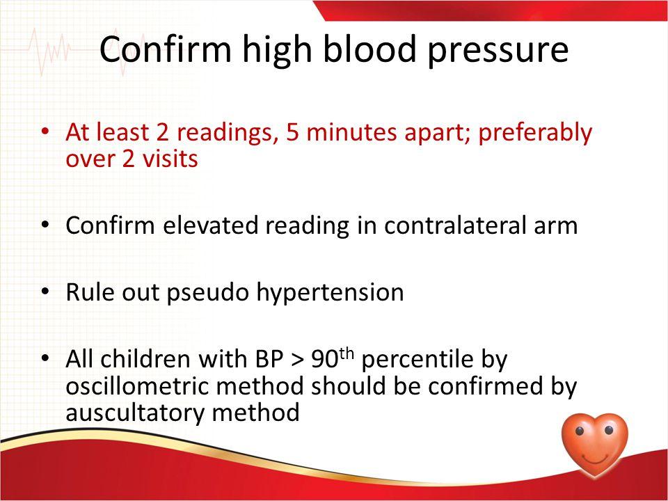 Confirm high blood pressure