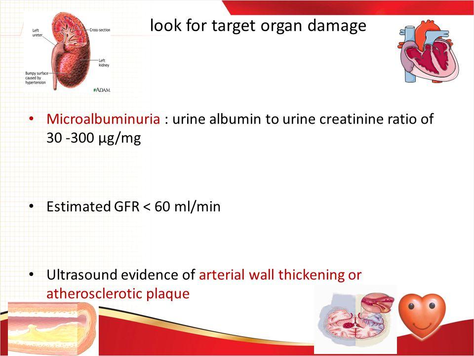 look for target organ damage