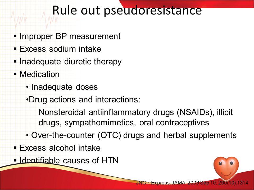 Rule out pseudoresistance