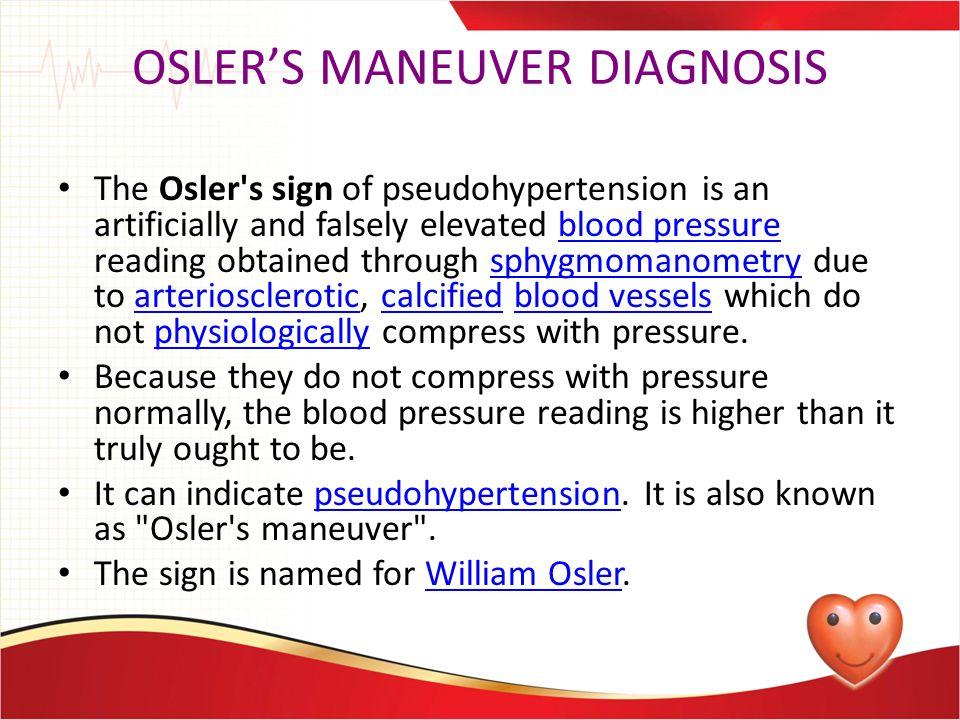 OSLER'S MANEUVER DIAGNOSIS