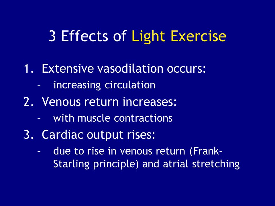 the effects of exercise on cardiac output essay Cardiac output during exercise: contributions of the cardiac, circulatory, and   31 effects of exercise on respiratory mechanics: 32 systemic venous return.