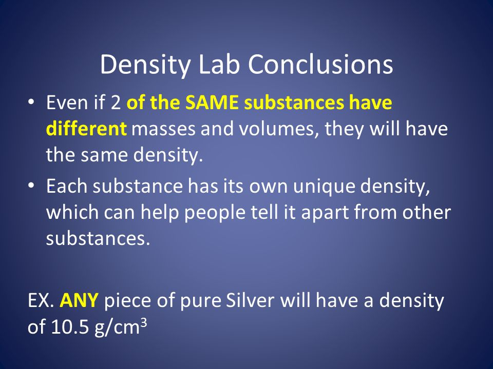 Density Lab Conclusions