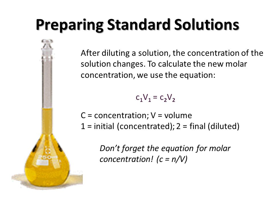 to make a standard solution Making a standard solution aim the purpose of this experiment is to prepare a standard solution of potassium hydrogenphthalate introduction potassium hydrogenphthalate, is a primary standard because it meets certain requirements it must be available in a highly pure state.