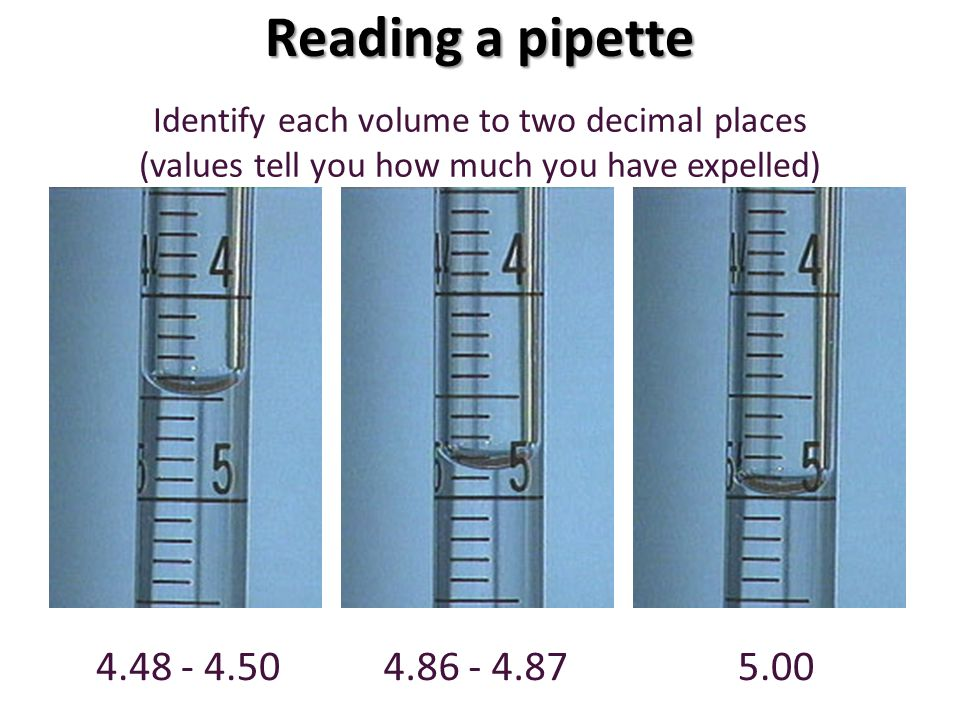 Reading a pipette Identify each volume to two decimal places. (values tell you how much you have expelled)