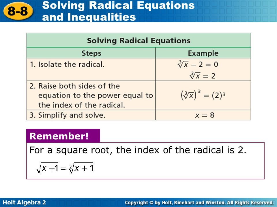Remember! For a square root, the index of the radical is 2