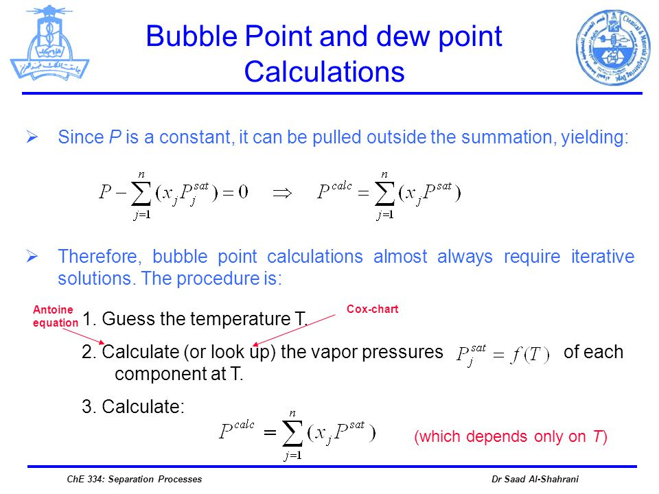 bubble point and dew pressure relationship