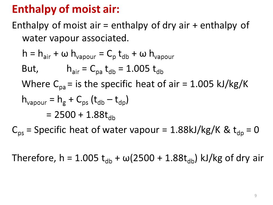 how to find specific enthalpy of air