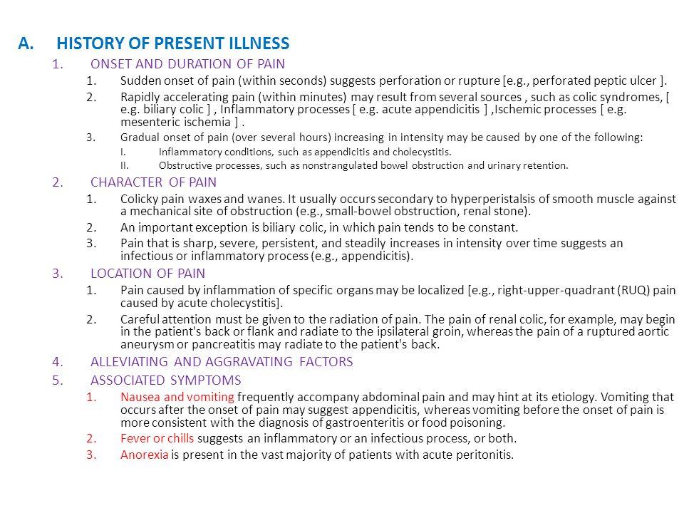 History of present illness | Custom paper Example
