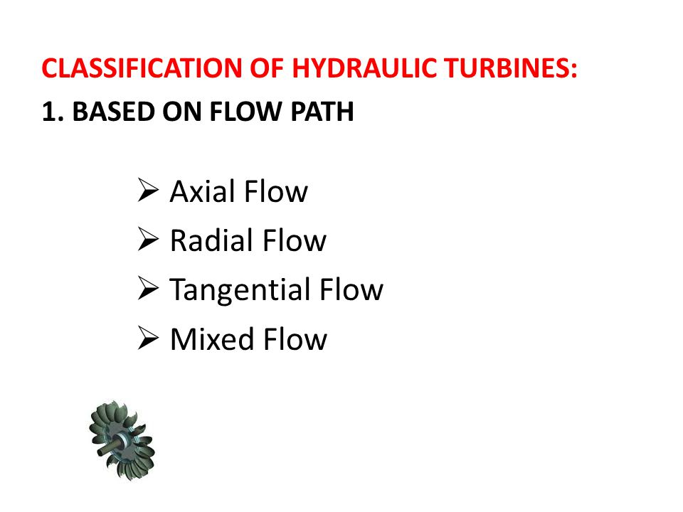 Axial Flow Radial Flow Tangential Flow Mixed Flow