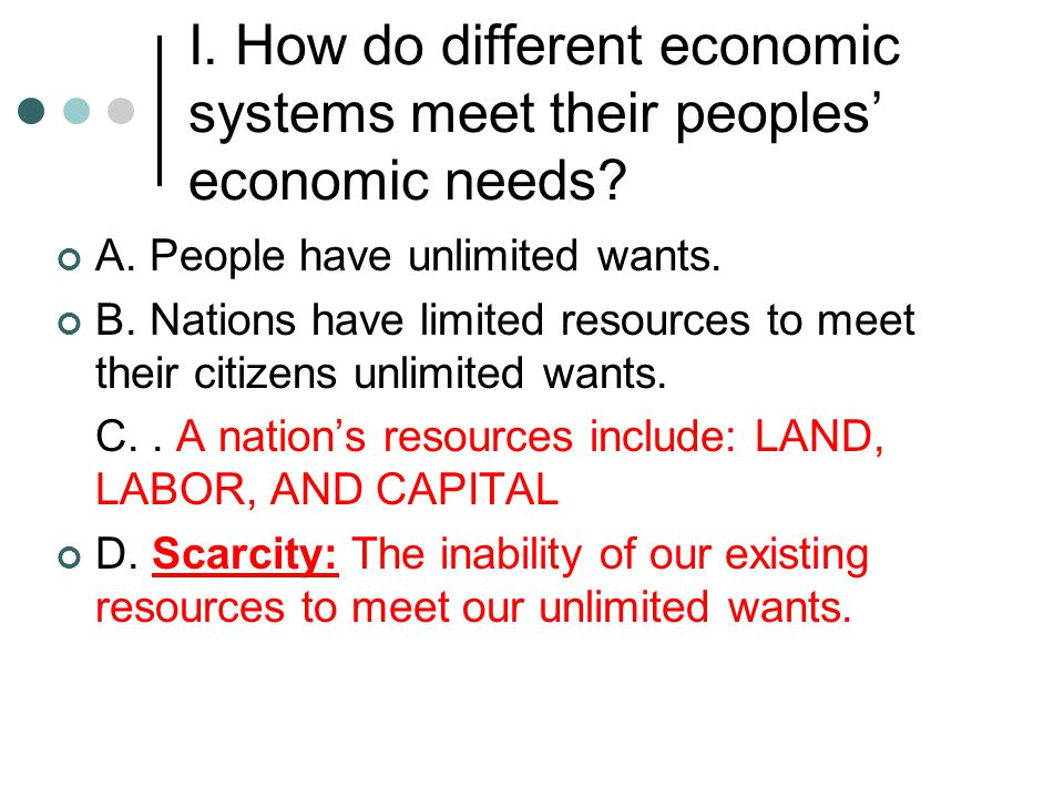 I. How do different economic systems meet their peoples' economic needs