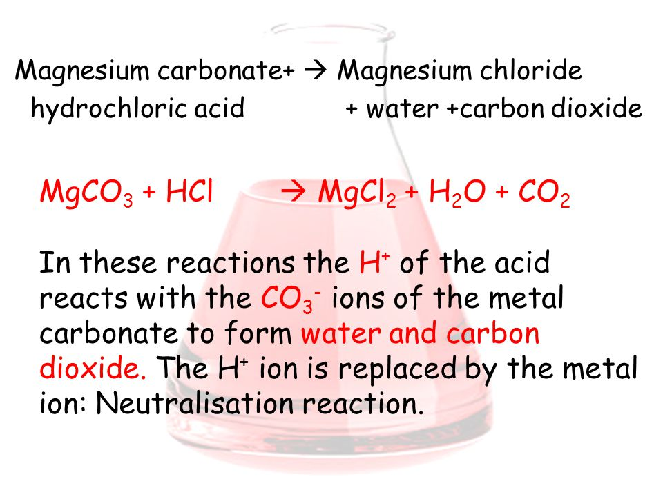 reaction with hydrochloric acid Combining an acid with a base typically results in water and salt in some cases, these reactions release gas and heat as well mixing baking soda, or nahco3, with hydrochloric acid, or hcl.