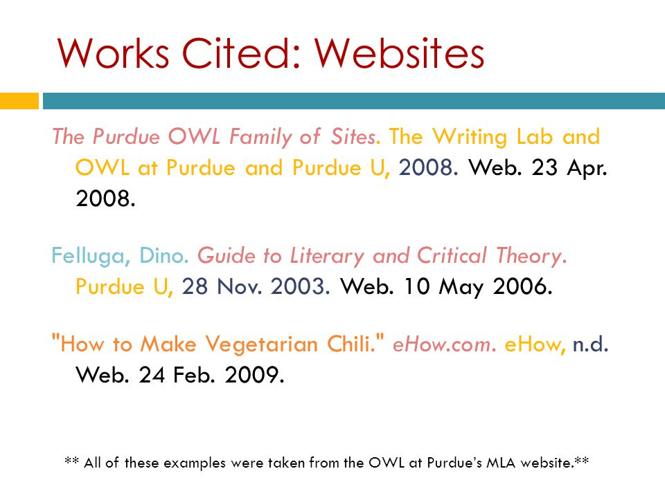 work cited mla website