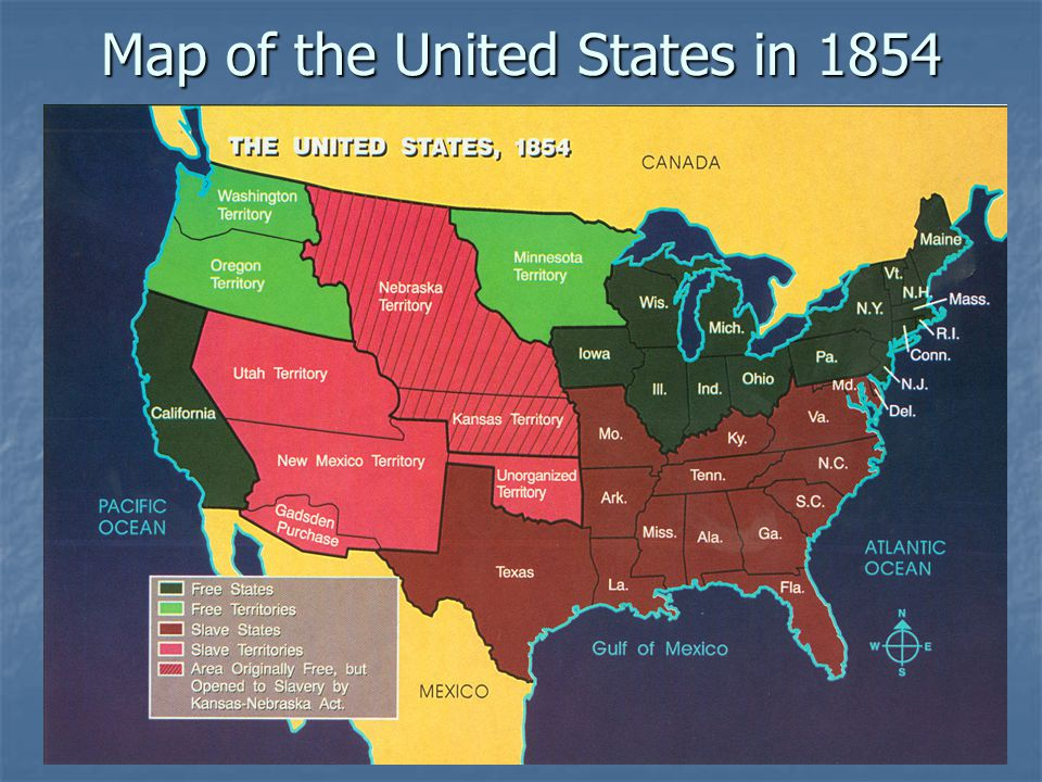 Map of the United States in 1854