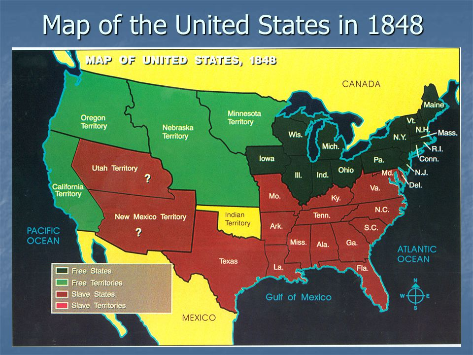Map of the United States in 1848