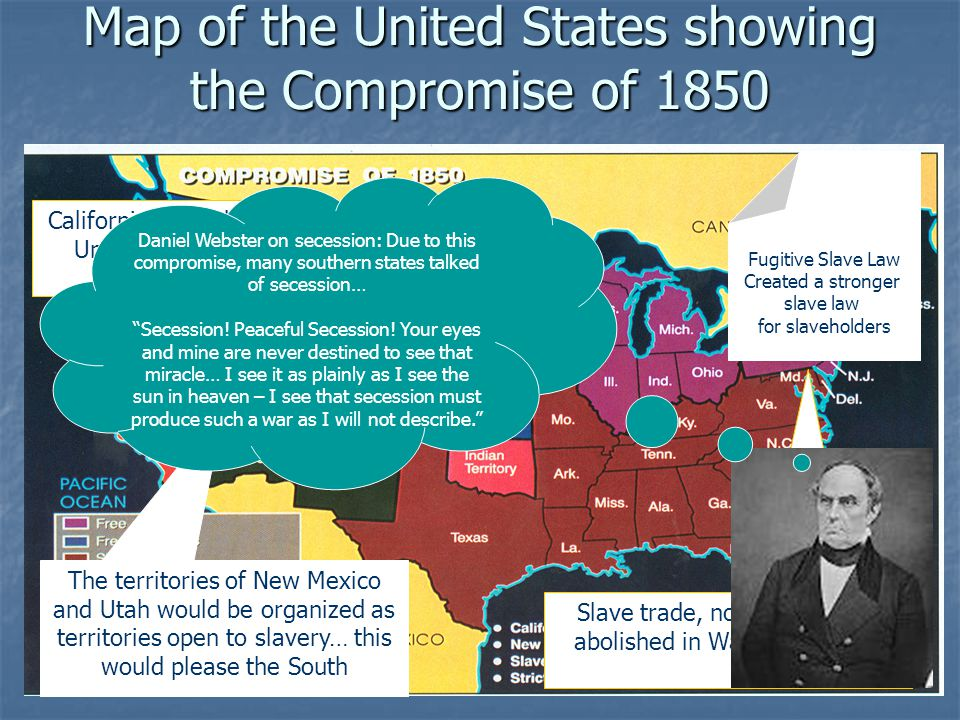 Map of the United States showing the Compromise of 1850