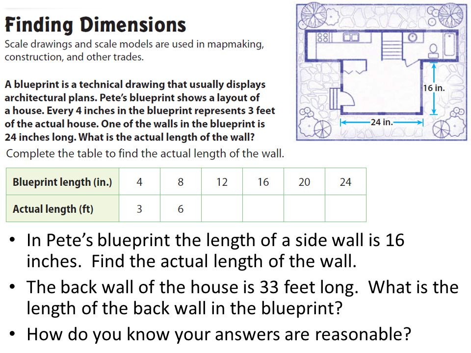 Similar shapes and scale drawings ppt video online download in petes blueprint the length of a side wall is 16 inches malvernweather Image collections