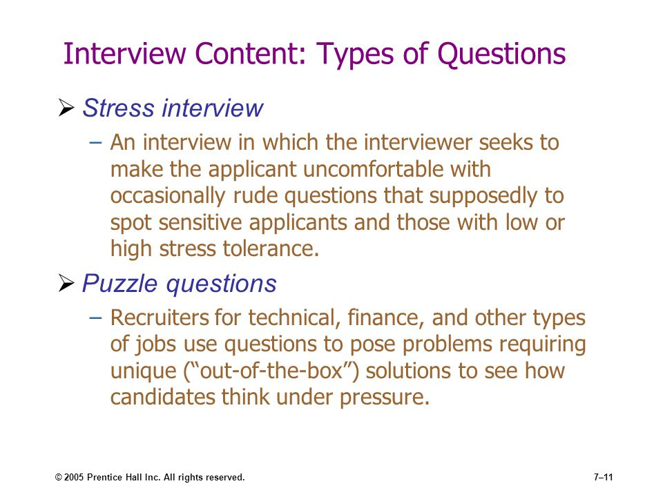 Interview Content: Types of Questions