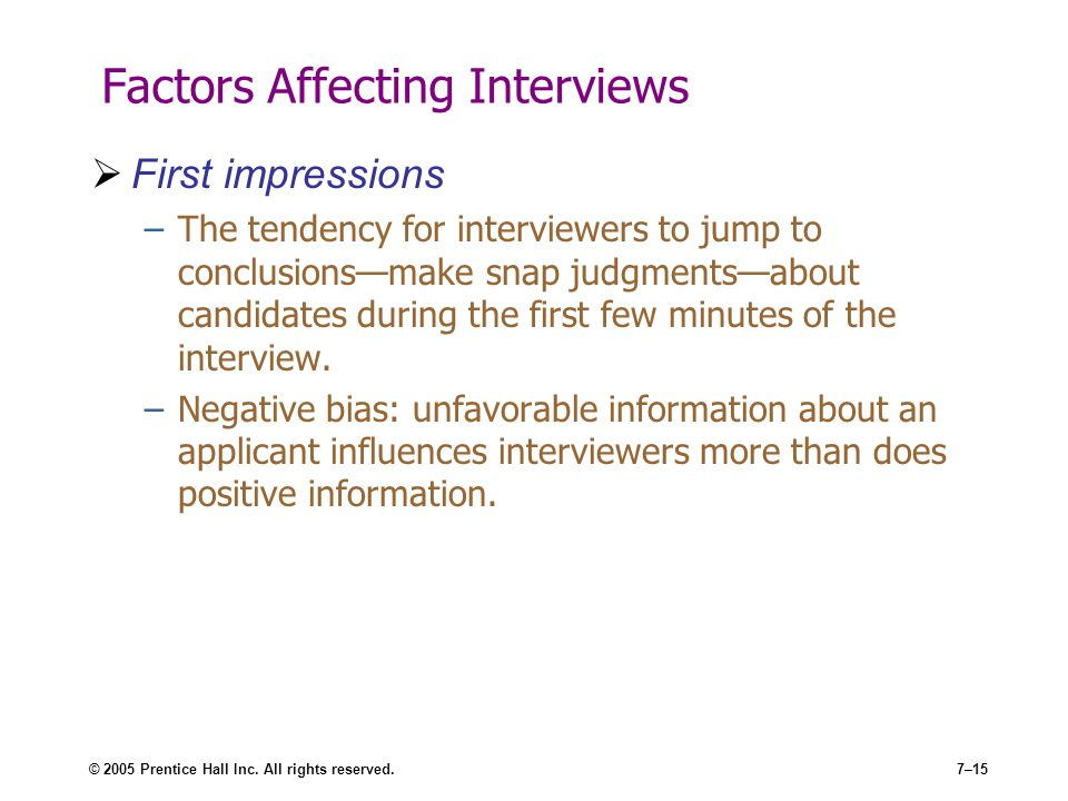 Factors Affecting Interviews