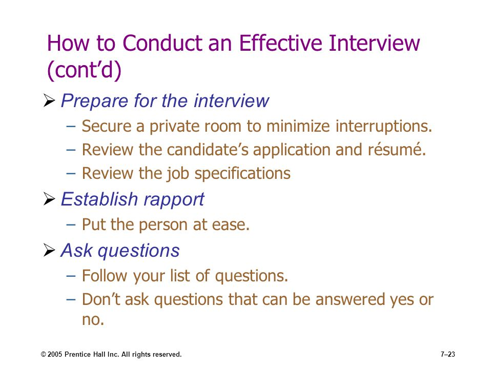 How to Conduct an Effective Interview (cont'd)