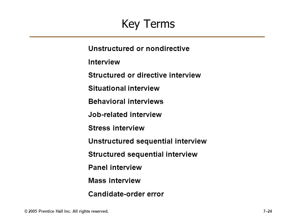 Key Terms Unstructured or nondirective Interview