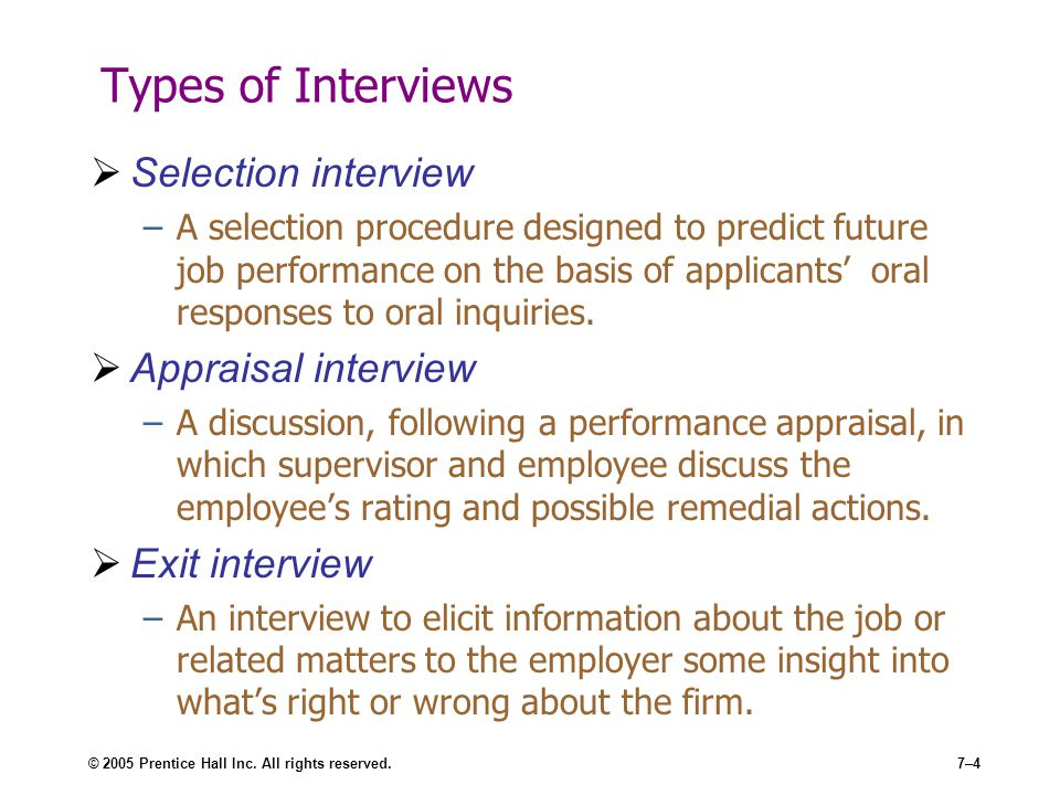 Types of Interviews Selection interview Appraisal interview