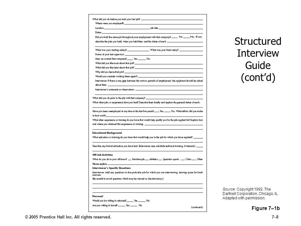 Structured Interview Guide (cont'd)