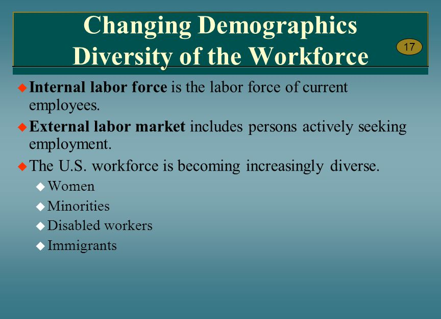 Changing Demographics Diversity of the Workforce
