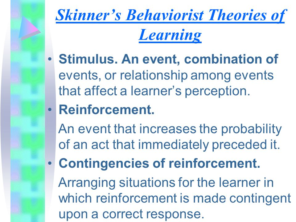 skinner believed in behavioristic theories The behavioral approach skinner (1904-1990) b f skinner is considered by many authorities to have been thegreatest behavioral psychologist of all time earlier behaviorism had been concerned with stimulus-responseconnections (or social learning theory.