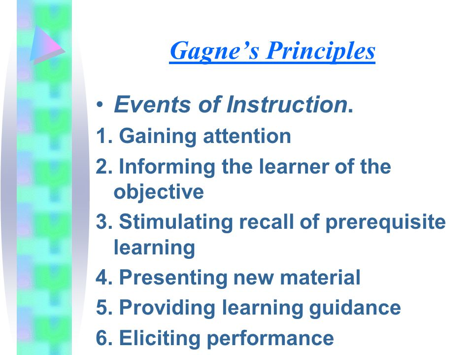 Gagne's Principles Events of Instruction. 1. Gaining attention