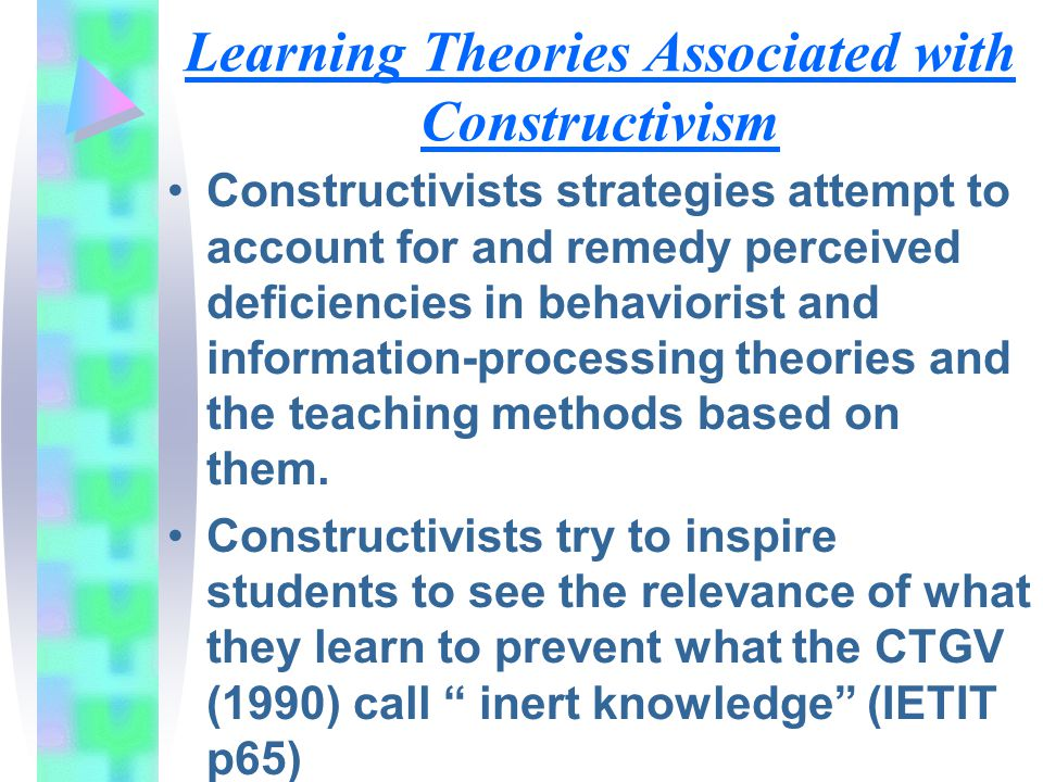 Learning Theories Associated with Constructivism