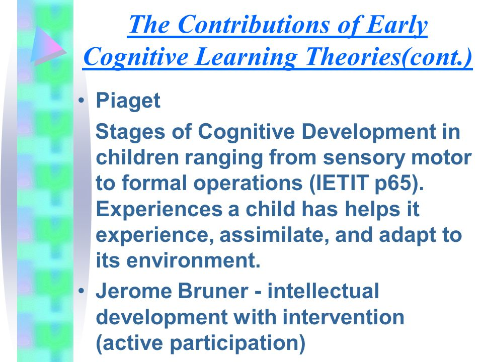 The Contributions of Early Cognitive Learning Theories(cont.)
