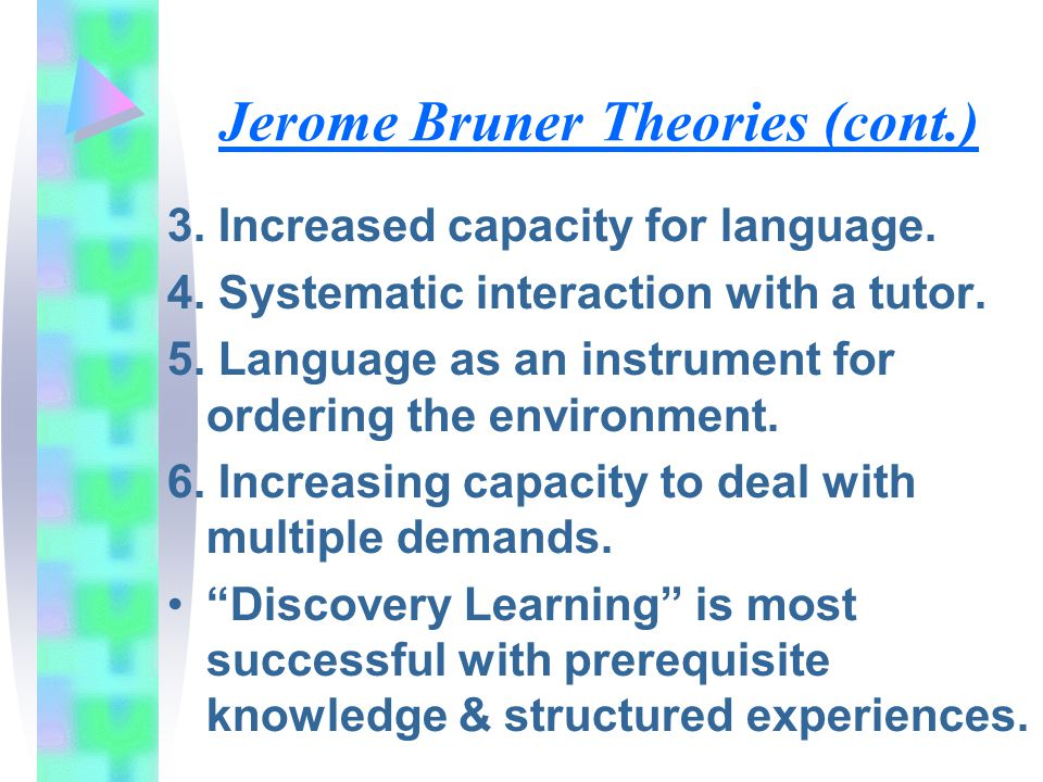 Jerome Bruner Theories (cont.)