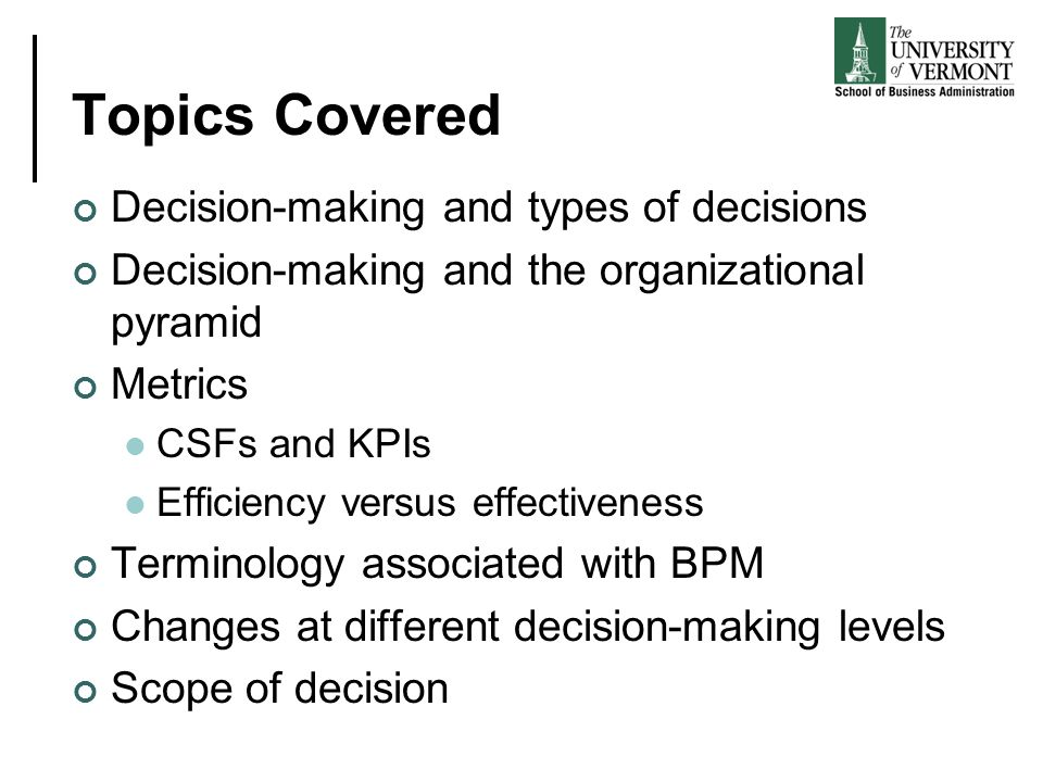 Topics Covered Decision-making and types of decisions