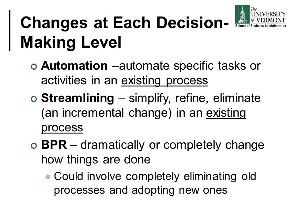 Changes at Each Decision-Making Level