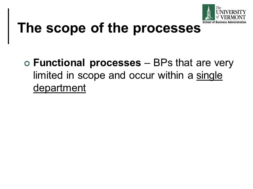 The scope of the processes