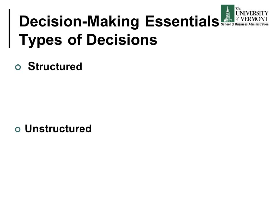 Decision-Making Essentials Types of Decisions