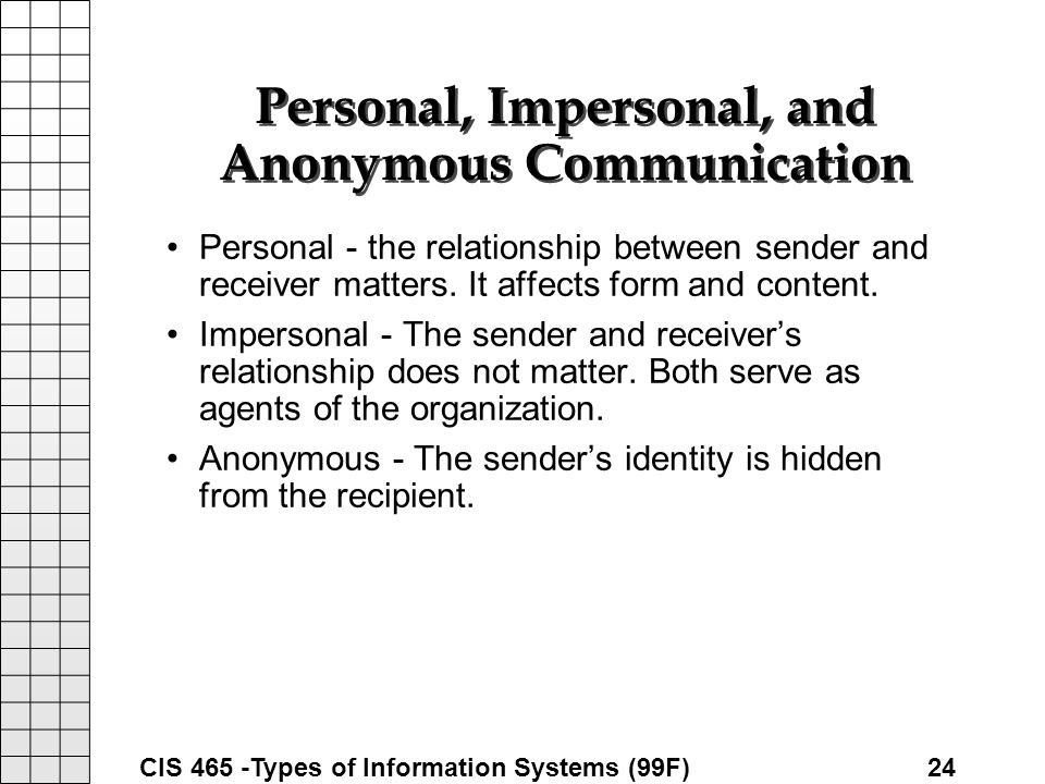 impersonal communication Interpersonal communication chapter 1-3  impersonal communication exchanges that have a negligible perceived impact on our thoughts, emotions, behaviors, and relationships  things about you that others easily notice through interpersonal communication but yet you aren't aware of yourself.