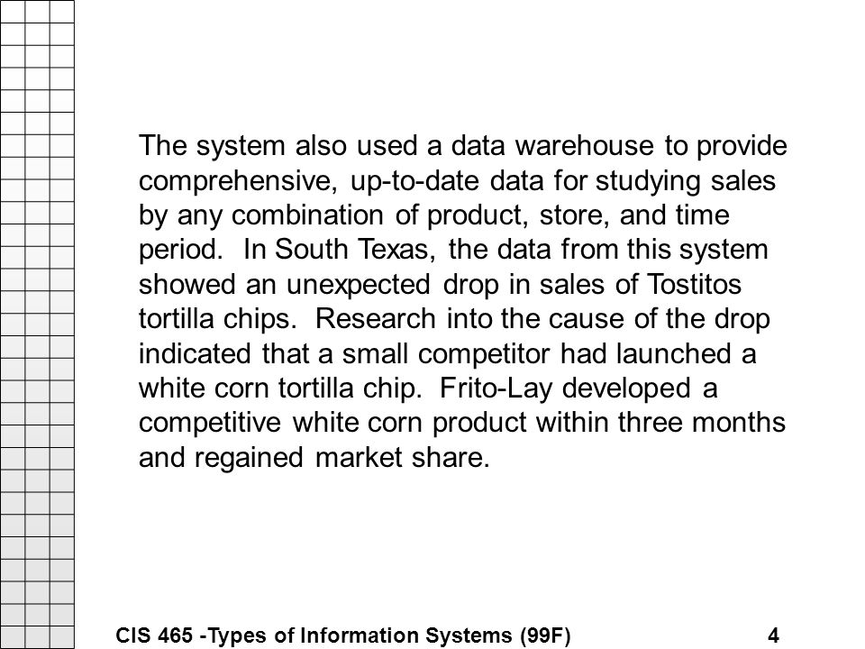 an analysis of the market share for tortilla and corn chips of frito lay Market share frito-lay canada: leading company in the sweet and savory   brand analysis 4 ps product whole grain corn tortilla chips 16.