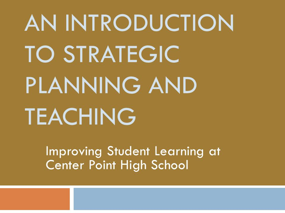 introduction about strategic planning for universities This is a quite long presentation on strategic planning it is composed by two main parts: recent shifts in the understanding of urban planning and design + ba.