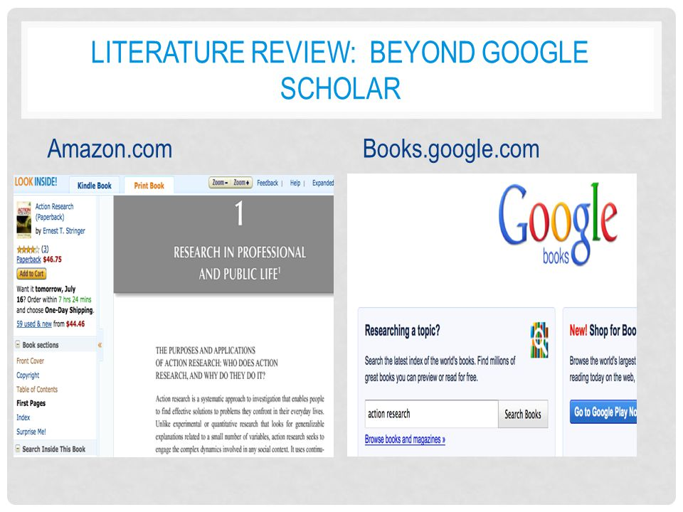 google literature review The scope of the article is to give a literature review over comparison of the two   obtain insight into google scholar, it is tested against web of science (wos),.