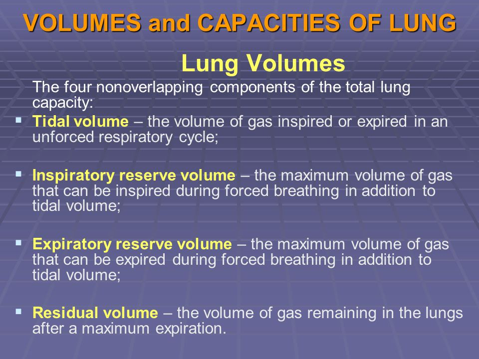 VOLUMES and CAPACITIES OF LUNG