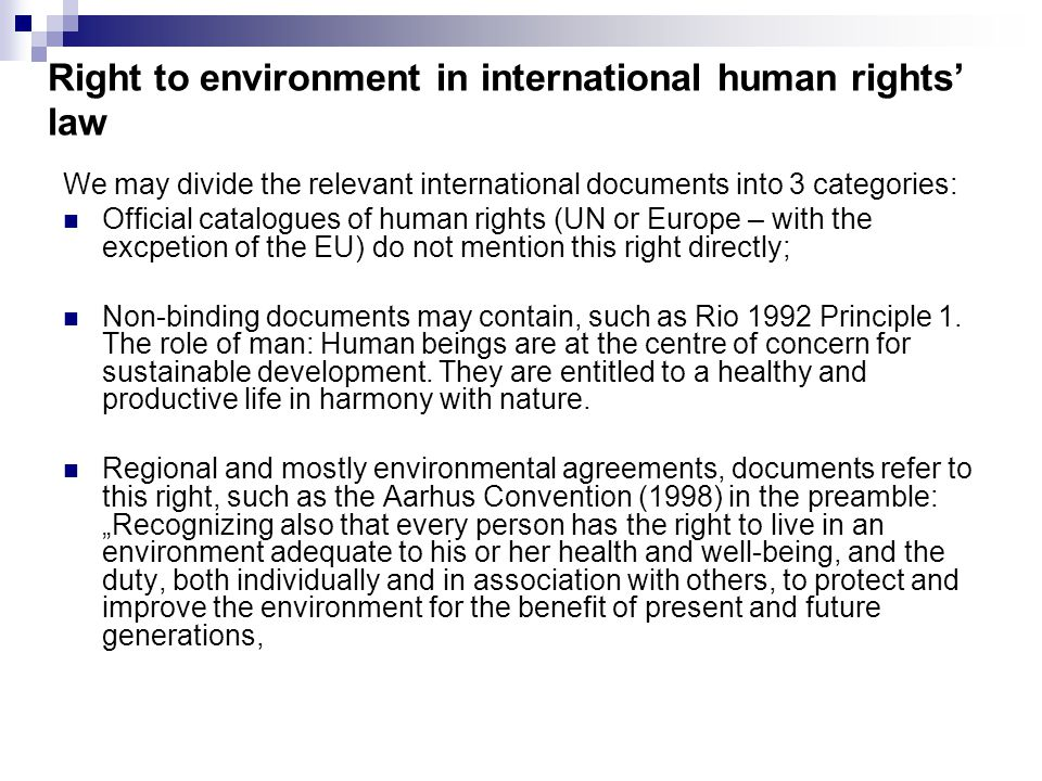 Essay on international agreements to protect environmental health