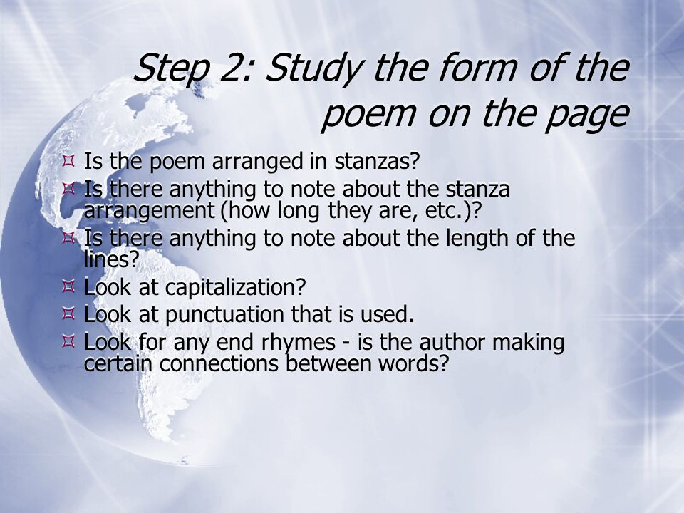 Step 2: Study the form of the poem on the page