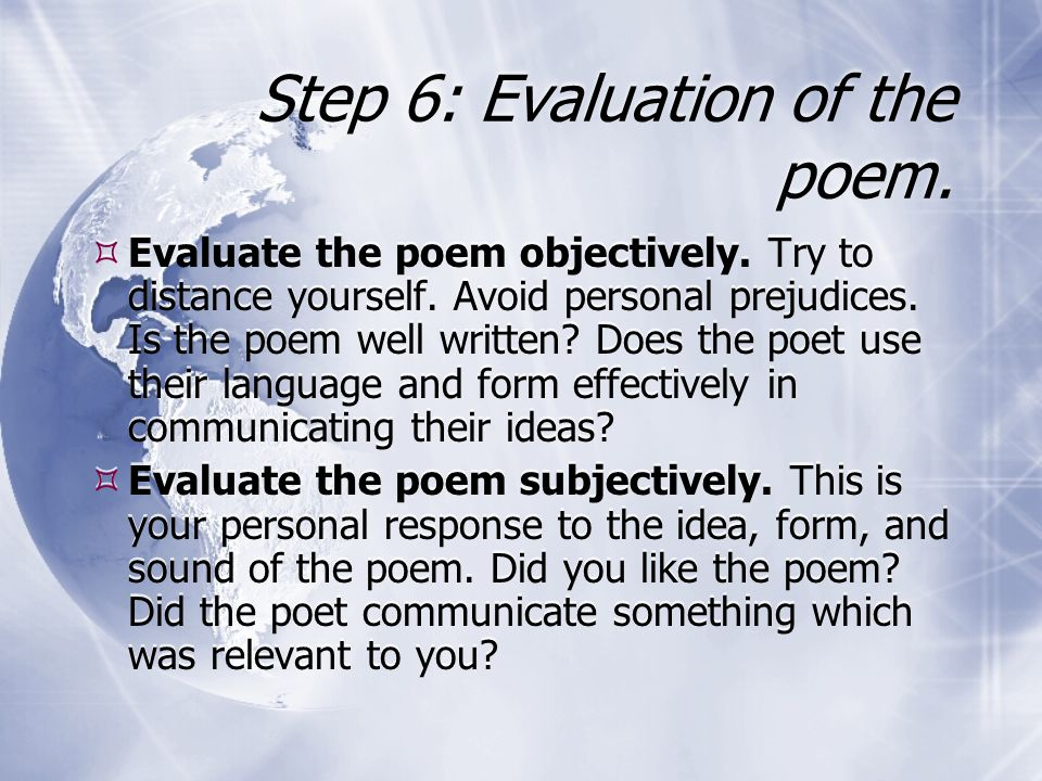 Step 6: Evaluation of the poem.