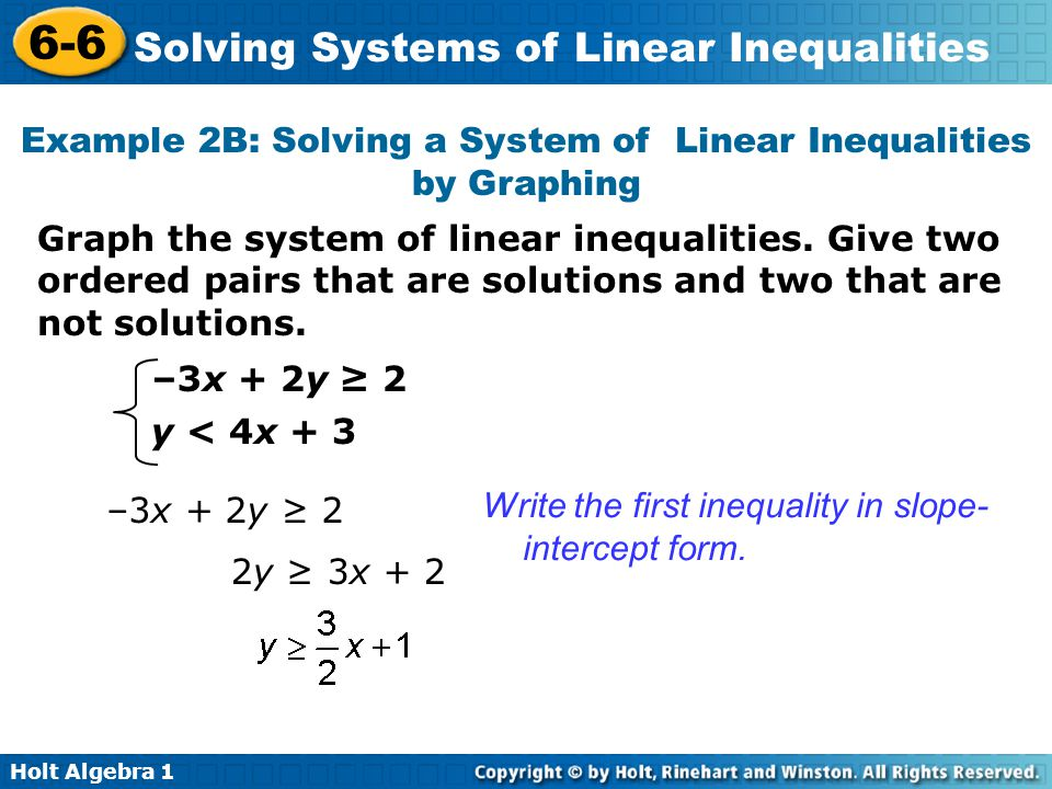 Example 2B: Solving a System of Linear Inequalities by Graphing